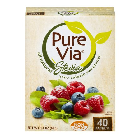 Pure Via Stevia Sweetener Zero Calorie Sweetener for Coffee & Tea Sugar Alternative, 40 count, 1.4 oz