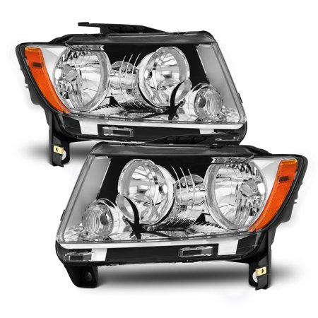 Halogen Style Fits 2011 2012 2013 Jeep Grand Cherokee Headlights Left+Rigth