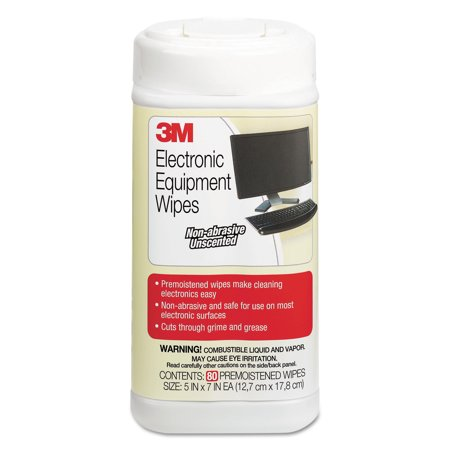 3M Electronic Equipment Cleaning Wipes, 5 1/2 x 6 3/4, White, 80/Canister 12' Wide Cleaning Path