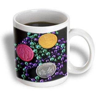 3dRose Mardi Gras Coins, Ceramic Mug, 11-ounce