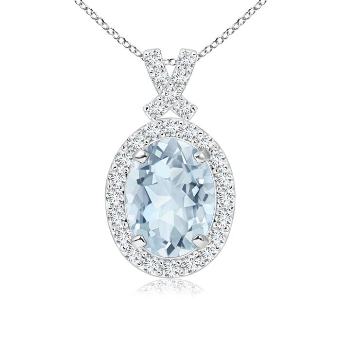 March Birthstone Pendant Necklaces Vintage Inspired Diamond Halo Oval Aquamarine Pendant in 950 Platinum (8x6mm... by Angara.com