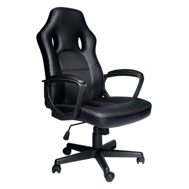 Office Desk Chair PU Leather, Ergonomic Computer Desk Chair, High-Back Executive Office Chair, 360° Swivel, Thick Padded, Black