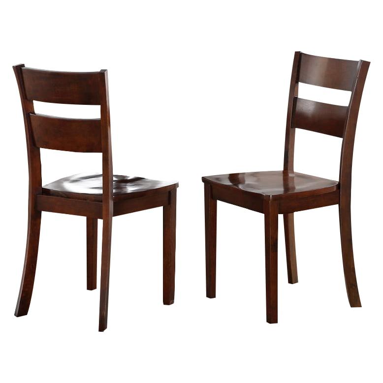 Dark Brown Wood Kitchen Dinette Side Chairs Set Two