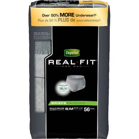 Depend Real Fit Incontinence Briefs For Men  Maximum Absorbency  S M  Grey  56 Count