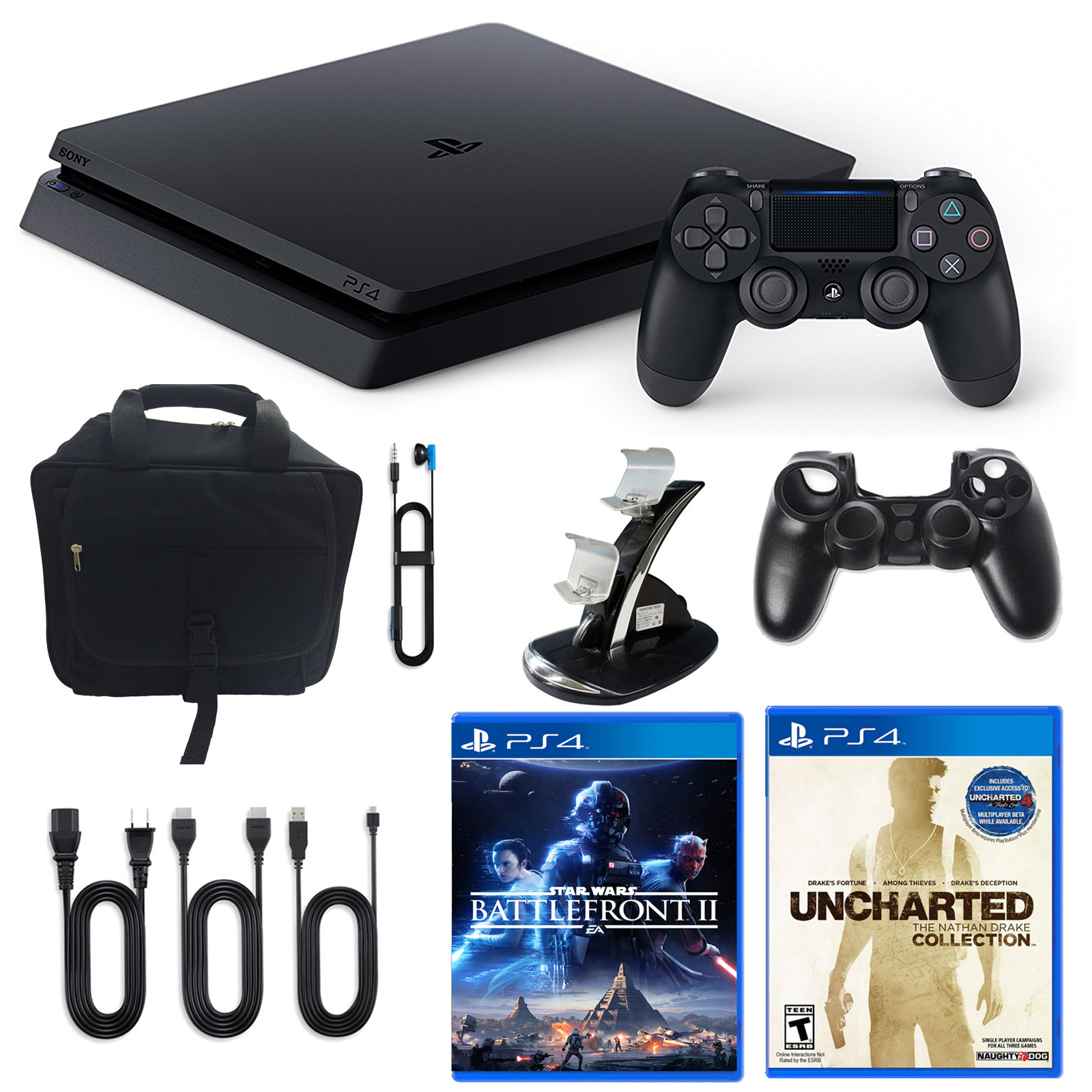 Playstation 4 1TB Limited Edition Star Wars Console with Nathan Drake Game and Accessories