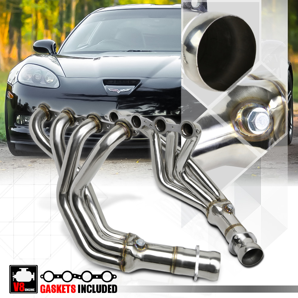 Stainless Steel Exhaust Manifold Header Fits 05-13 Chevy Corvette C6 LS2//LS3 ...
