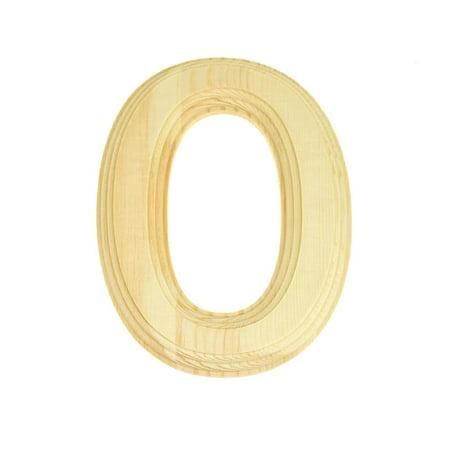 Pine Wood Beveled Wooden Letter O, Natural, 6-Inch