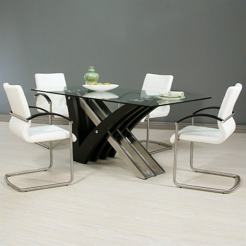 Pastel Furniture Akasha 5 Piece Dining Room Set in Ivory Wenge by Pastel Furniture