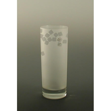 - Set of 4 Nice Dice Etched Hi Ball Cocktail Drinking Glasses 12 ounces