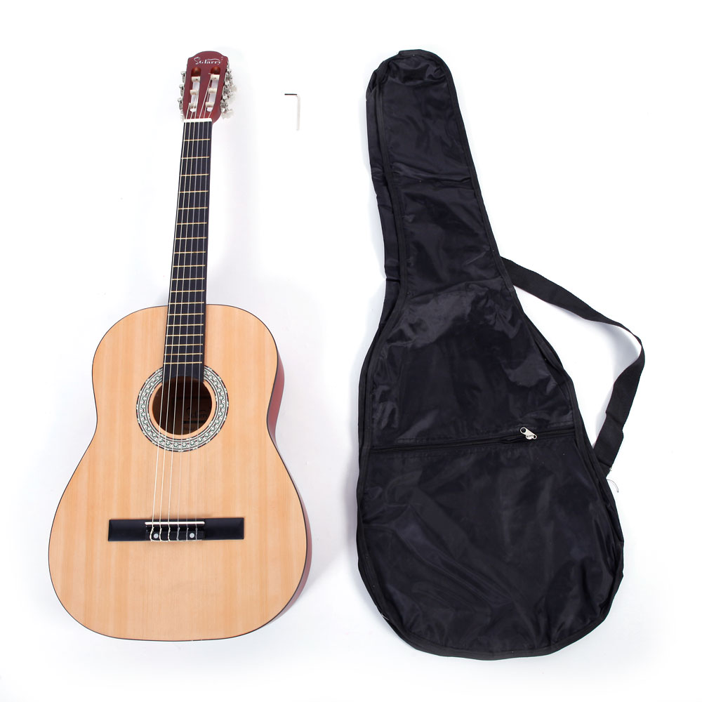 Ktaxon GT503 38 inch Spruce Front Cutaway Classic Guitar with Bag & Wrench Tool Matte Edge Burlywood Color