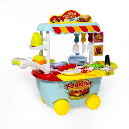 ihubdeal Fast Food Trolley Cart Play Kitchen Set - Pretend Play Toy Set for  Kids with Kitchen Tools, Fast Food Car, Assorted Play Foods, Dishes, Pot ...