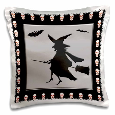 3dRose Halloween Witch Flying on a Broom with Bats on Silver Framed with Glowing Skulls, Pillow Case, 16 by 16-inch - Halloween Frans