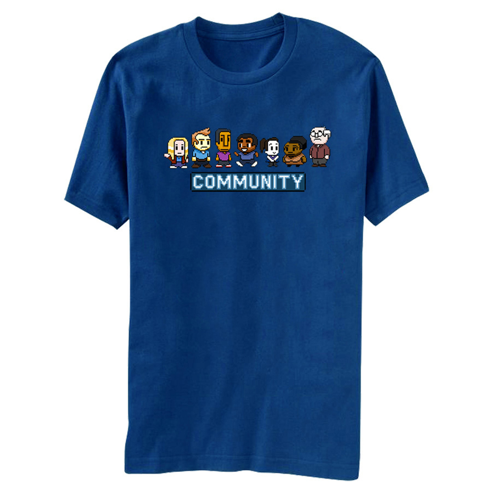 Community 8 Bit Character Group Shot NBC TV Series Sitcom Adult T-Shirt Tee