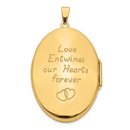 14k Yellow Gold Irish Claddagh Celtic Knot Heart 38mm Oval Photo Pendant Charm Locket Chain Necklace That Holds Pictures Fine Jewelry Gifts For Women For Her - image 2 de 8