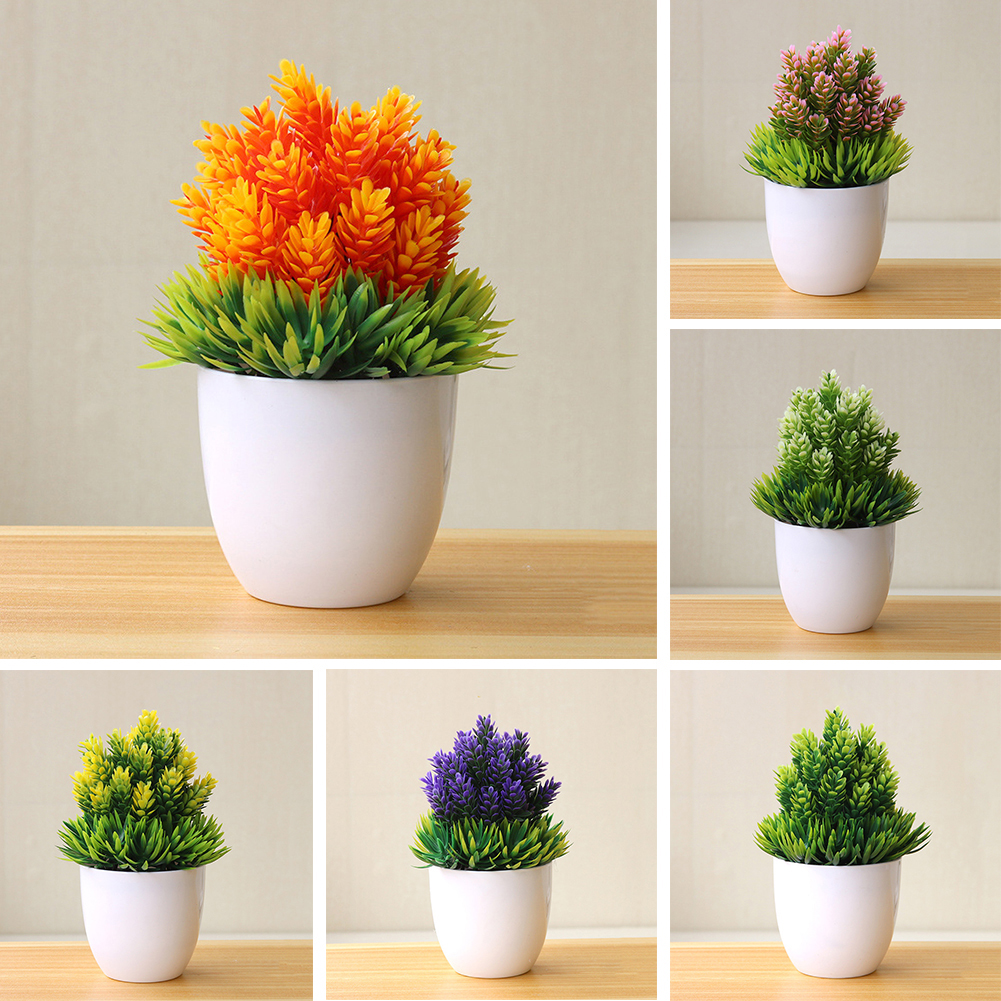 Heepo Artificial Potted Plant Fake Bonsai Table Simulation Decor for Home Office Hotel