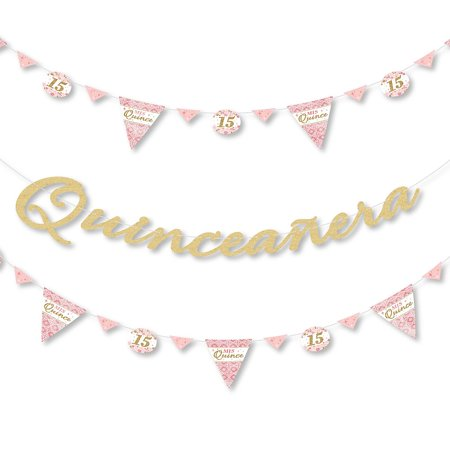 Mis Quince Anos - Birthday Party Letter Banner Decoration - 36 Banner Cutouts and No-Mess Real Gold Glitter Happy Birthday Banner Letters](Mis Quince Decorations)