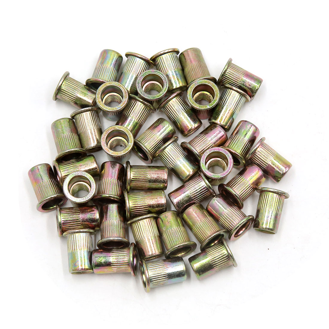 40 Pcs Copper Tone Metal Car Rivet Nut Flat Head Insert Nutsert 5/16-18 UNC