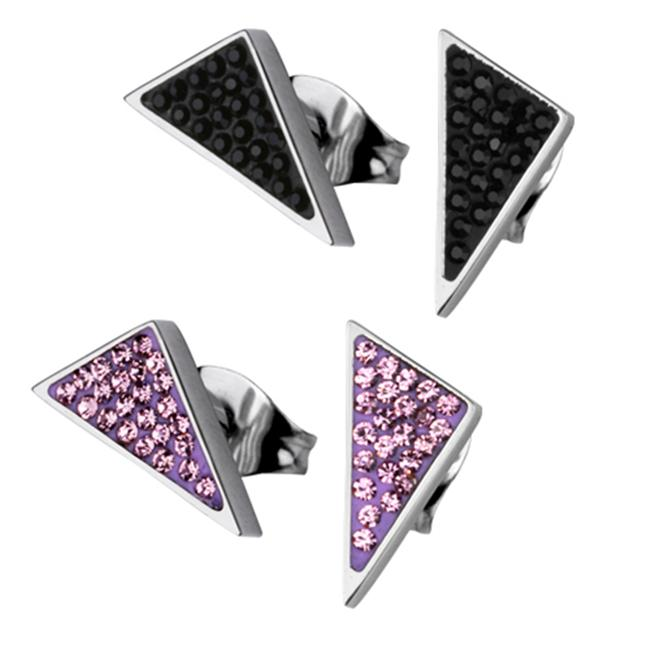 AAB Style ESS-142 CZ Encrusted Stainless Steel Triangular Earrings