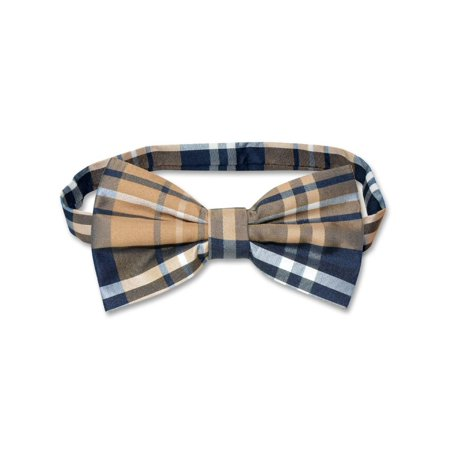 Vesuvio Napoli BOWTIE Navy Brown White Color PLAID Design Men