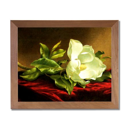 White Magnolia Floral Flower Contemporary Wall Picture Honey Framed Art Print