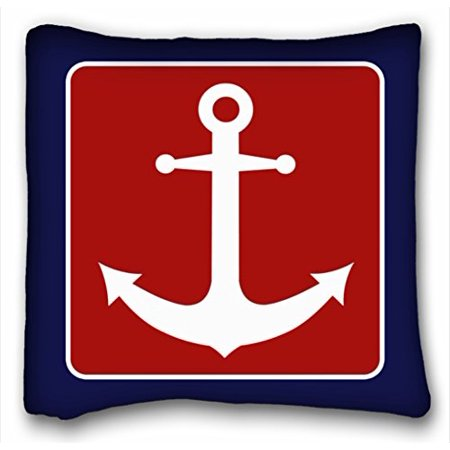 Blue Square Pillow - WinHome Nautical Anchor - Red White And Blue Throw Pillow Personalized Square Throw Pillow Case Decor Cushion Covers Size 18x18 Inches Two Side Print