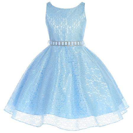 Little Girls Dress Sleeveless Floral Lace Rhinestone Holiday Flower Girl Dress Blue Size 4 - Blue Flower Girls Dresses