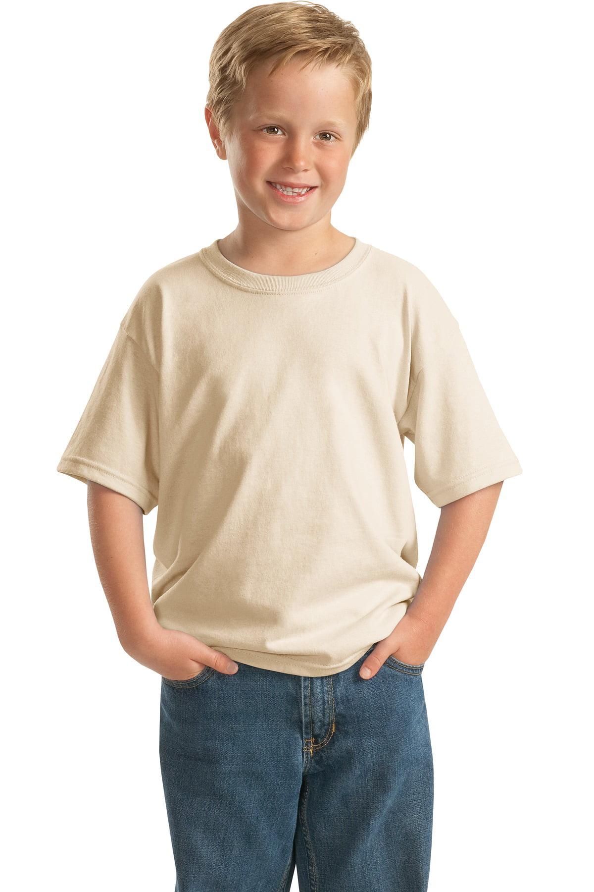 Gildan Boy's 100 Percent Cotton Short Sleeve Taped Neck T-Shirt - 5000B