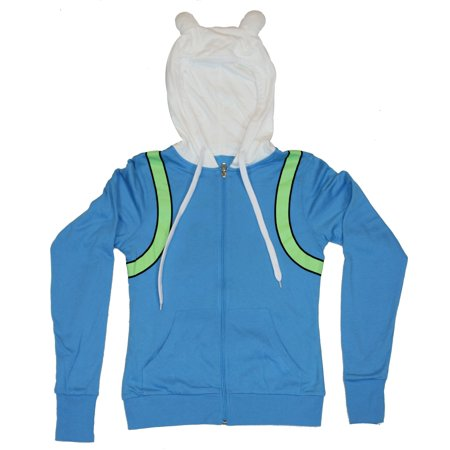 Adventure Time Reversible Girls Juniors Hoodie Sweatshirt - Costume & Group Pic (Medium, Medium) - Group Costumes Girls