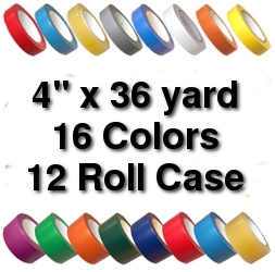 Vinyl Marking Tape 4 inch x 36 yard (12 Roll Case) - Black