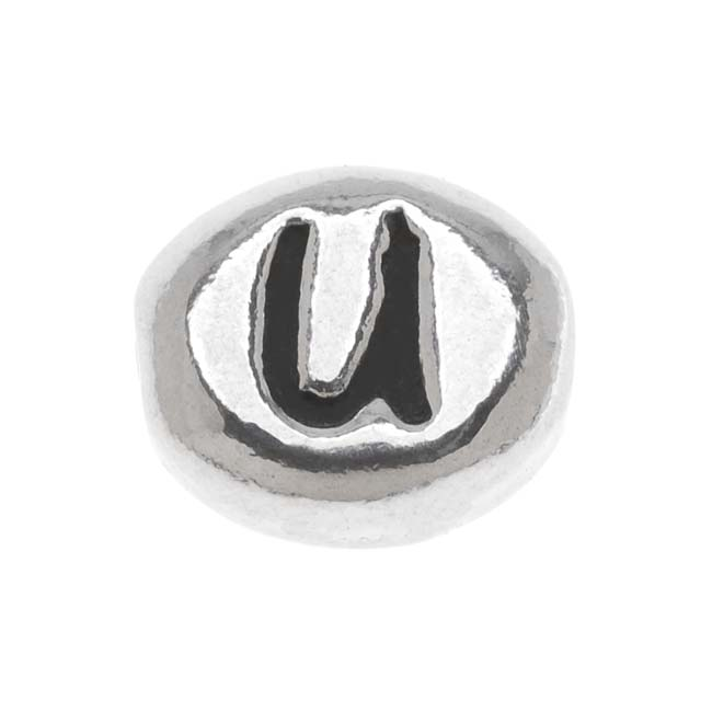 Lead-Free Pewter Alphabet Bead, Letter 'U' 8mm Oval, 1 Piece, Antiqued Silver