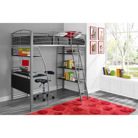 "DHP Studio Twin Loft Bed with Integrated Desk and Shelves, Silver with Mainstays 6"" Bonnell Coil Mattress"