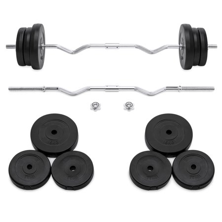 Best Choice Products 55lb W-Shape Curl Bar Workout Exercise Fitness Set for Home Gym w/ 2 Spin-Lock Clamp Collars, 6 Plates -