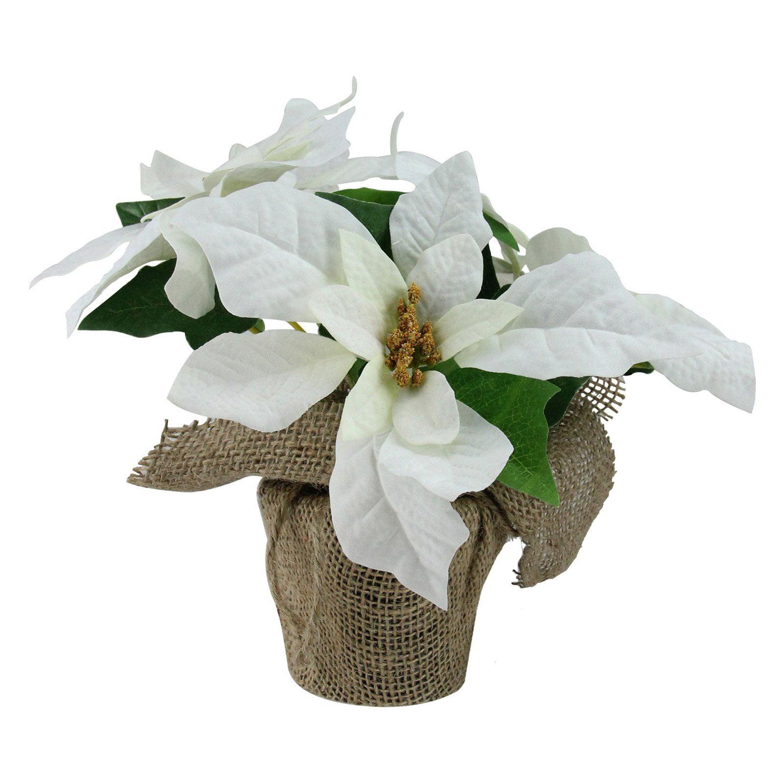 Northlight White Artificial Christmas Poinsettia Flower Arrangement
