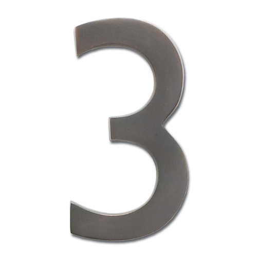 "Architectural Mailboxes 5"" Brass Floating House Number, Satin Nickel, 3"