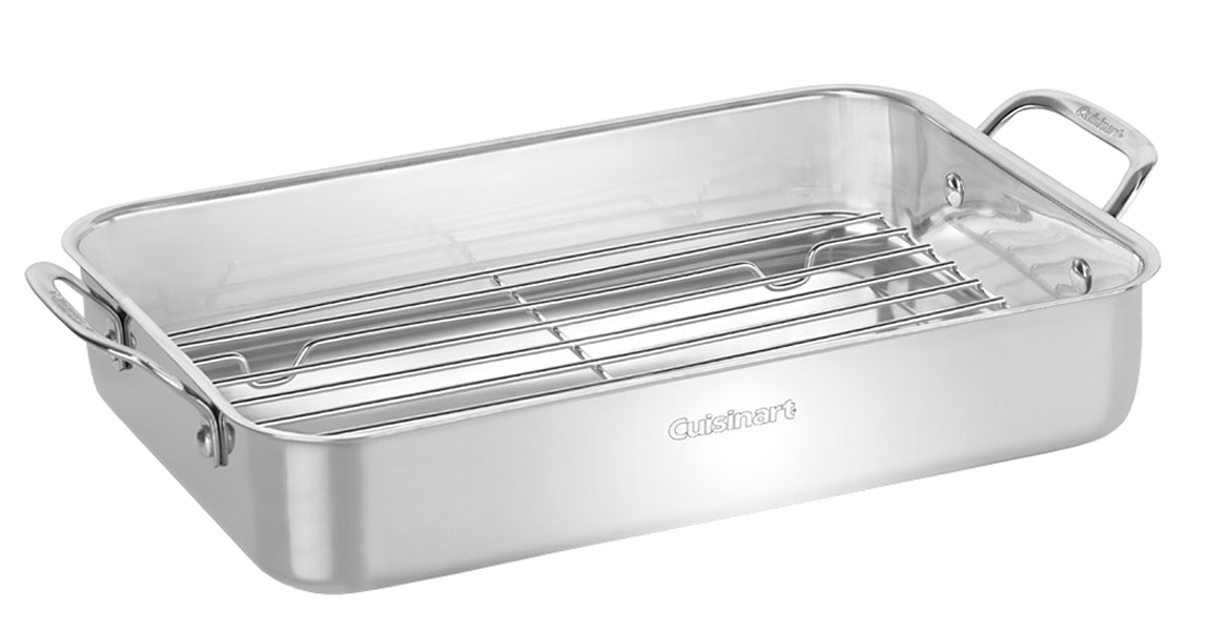 "Chef's Classic 14"" Stainless Steel Lasagna Pan with Roasting Rack by Conair"