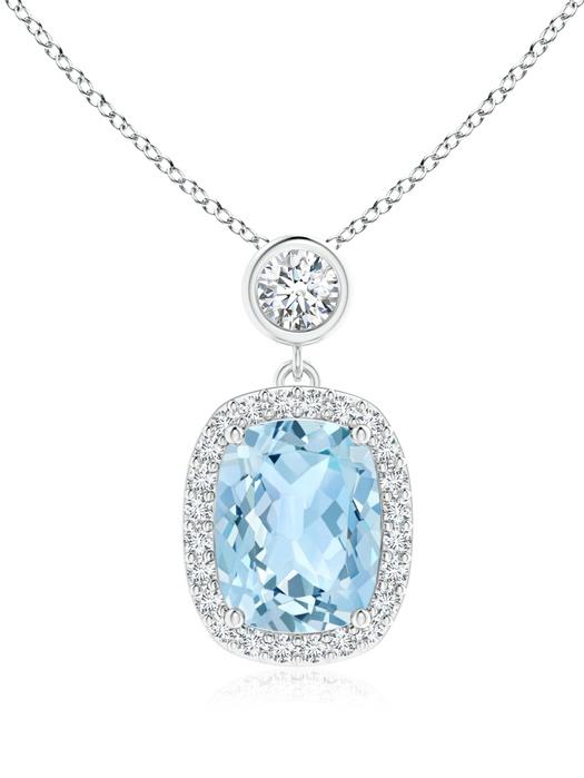 March Birthstone Pendant Necklaces Dangling Cushion Aquamarine and Diamond Halo Pendant in 950 Platinum (9x7mm... by Angara.com