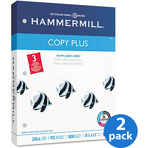 "Hammermill 8.5""x11"" Copy Plus Copy Paper, 3-Hole Punch, 92 Bright, 20lb, White, 500 Shts/Rm, 2 Pack"