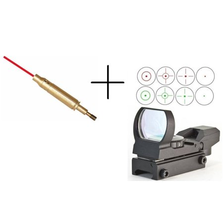 Ultimate Arms Gear Tactical Crossbow Archery Arrow Red Laser Bore Sighter Sighting Boresighter Aiming Tool + Multi 4 Reticle Red & Green Dot Open Reflex Scope Sight Picatinny Rail Mount