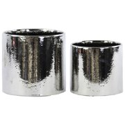 2-Pc Round Pot in Polished Chrome Silver Finish