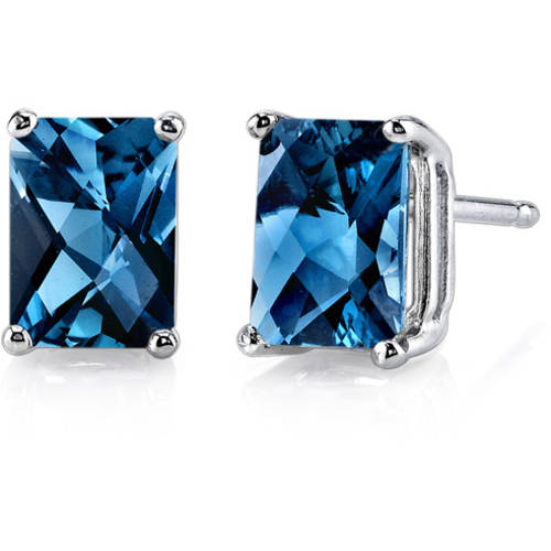 Oravo 2.25 Carat T.G.W. Radiant-Cut London Blue Topaz 14kt White Gold Stud Earrings