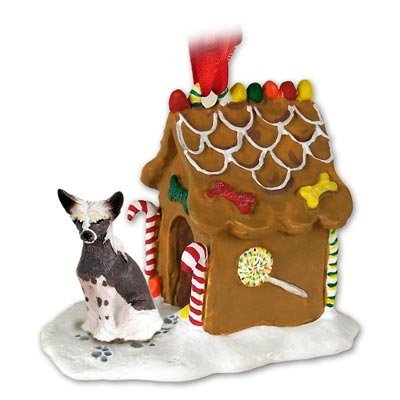 CHINESE CRESTED Dog NEW Resin GINGERBREAD HOUSE Christmas Ornament 81