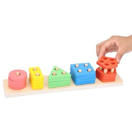 Domqga Wooden Toy, Baby Wooden Block, Colorful Geometric Board Kids Children Wooden Block Preschool Educational Toy Gift - image 8 of 8