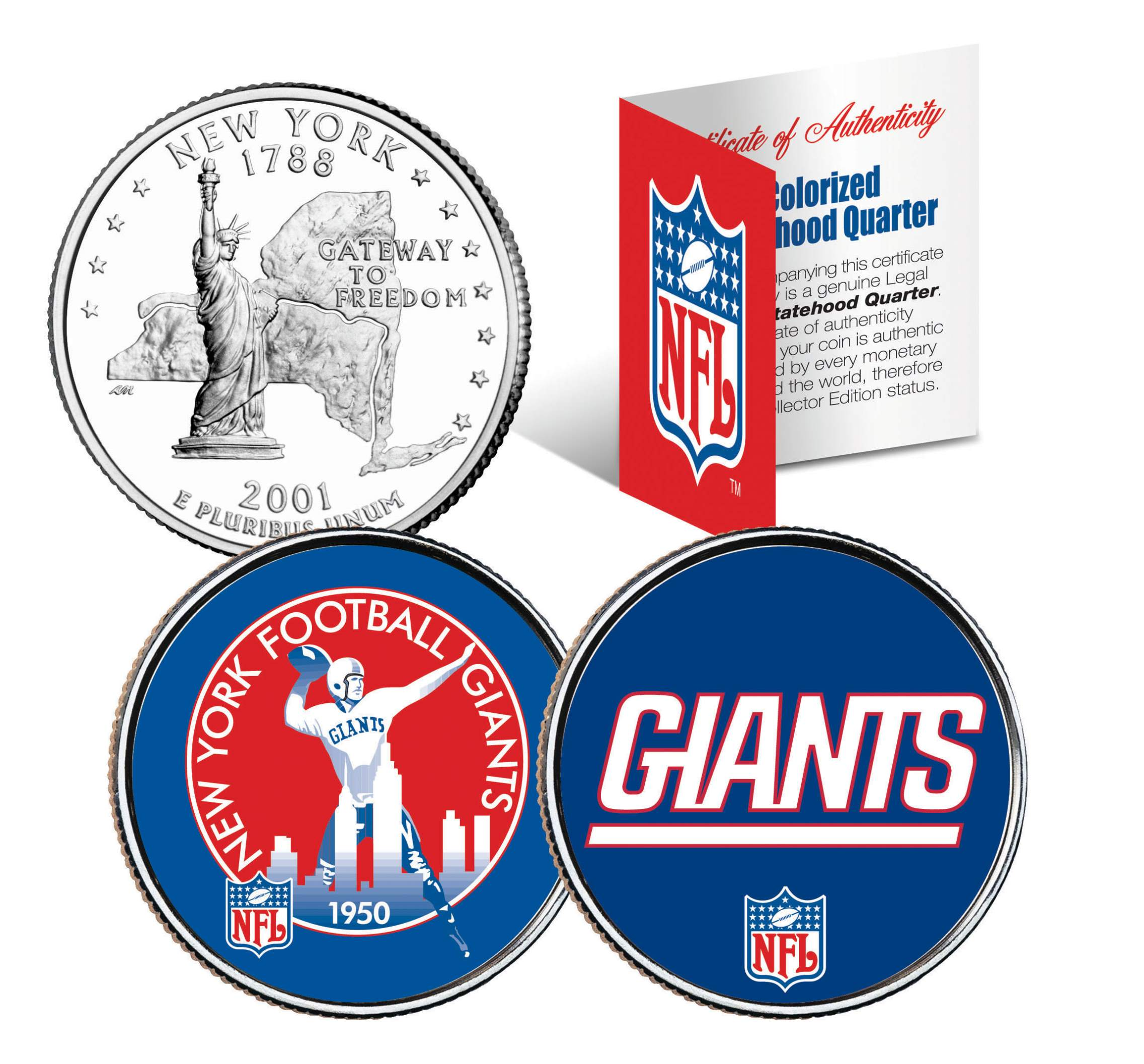 NEW YORK GIANTS * Retro & Team Logo * NY Quarters 2-Coin U.S. Set NFL LICENSED