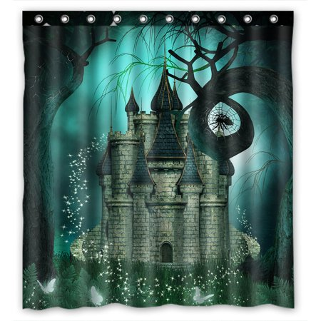 YKCG Magic Fantasy Castle Halloween Night Mystic trees Waterproof Fabric Bathroom Shower Curtain 66x72 inches - Halloween Magic Castle