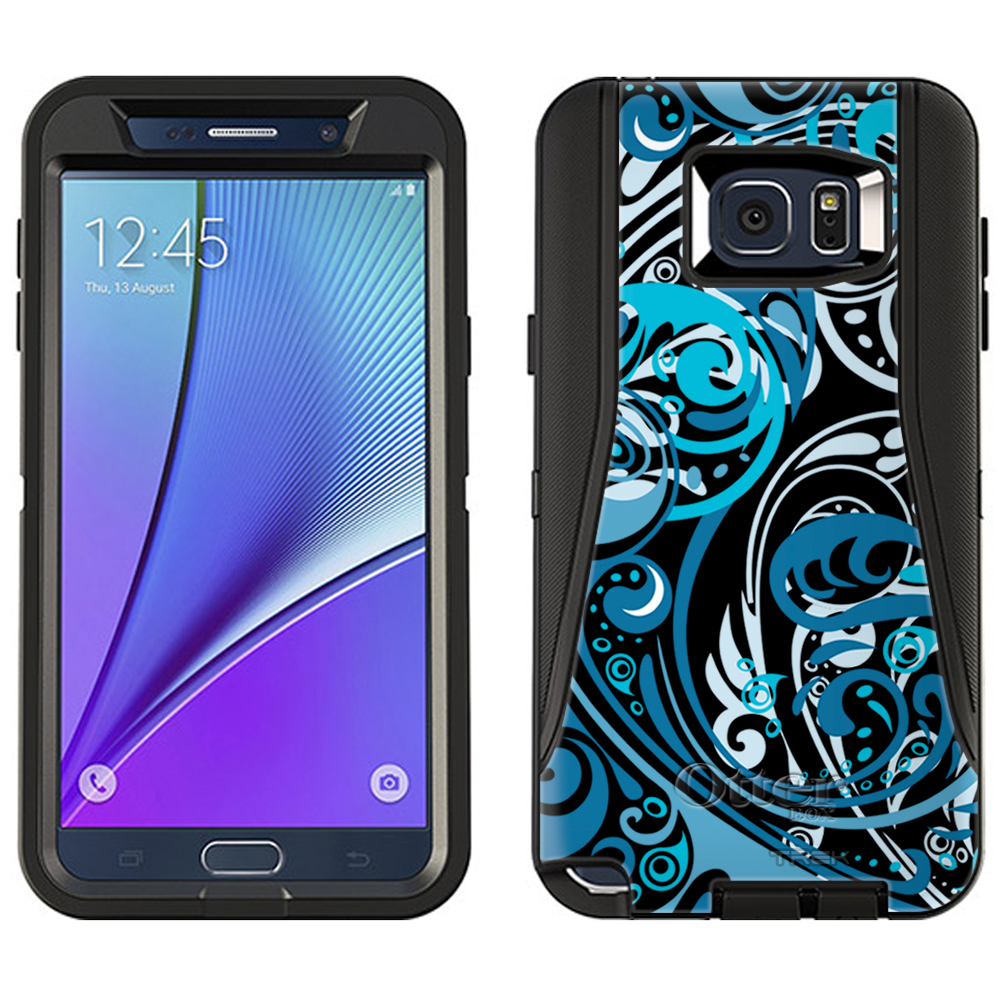 OtterBox Defender Samsung Galaxy Note 5 Case - Abstract Swirled Sades of Blue on Black OtterBox Case