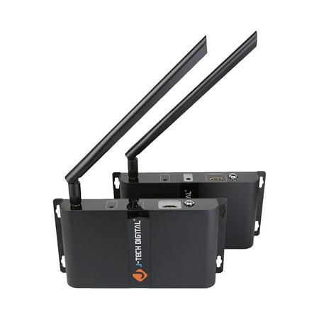J-Tech Digital HDbitT Series Wireless HDMI Extender Supporting Ultra HD 4K with IR Signal Transmission up to 660 Ft (Transmitter + Receiver)