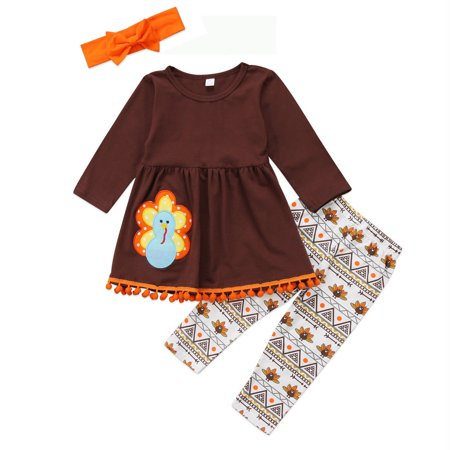 Cute Thanksgiving Outfits For Women (3Pcs Kids Toddler Baby Girls Turkey T-Shirt Top Dress+Pants+Headband Thanksgiving Outfit Clothes)