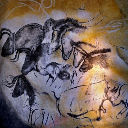 Painting in the Chauvet Cave, 32,000-30,000 Bc Ancient Animal Pictogram Art Print Wall