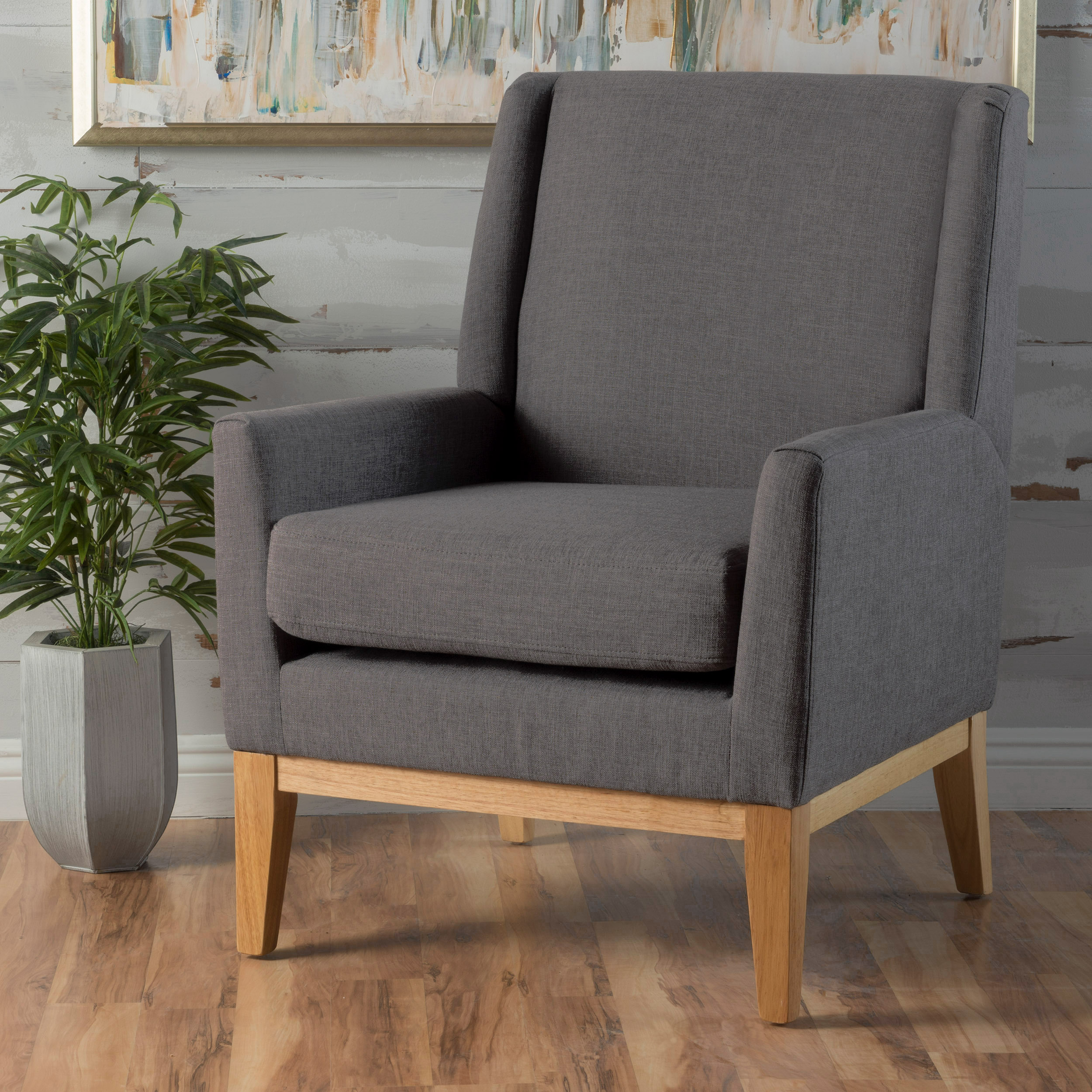 Noble House Lauren Light Grey Fabric Accent Chair
