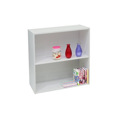 Darrin White Wood 2 Tier Shelf Bookcase Storage Unit Organizer